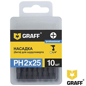 Бита для шуруповерта (насадка) PH2x25 мм GRAFF 10 шт в коробке
