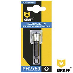 Бита для гипсокартона с ограничителем PH2x50 мм GRAFF в блистере