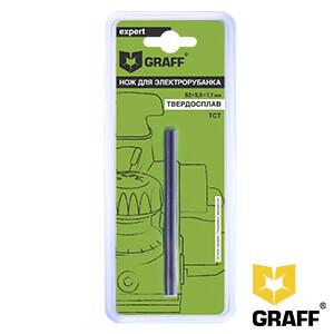 Нож для электрорубанка 82х5,5х1,1 мм TCT GRAFF, 1 шт. в блистере