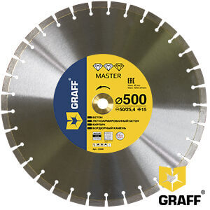 Алмазный диск по бетону и камню 500x15x3,8x25,4/50 мм Master GRAFF