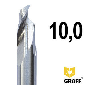 Фреза концевая по алюминию и пластику 10x18/65x85x10 мм однозаходная HSS M35 удлиненная GRAFF