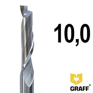 Фреза концевая по алюминию и пластику 10x45/70x100x10 мм однозаходная HSS M35 удлиненная GRAFF