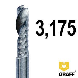 Фреза концевая по алюминию и пластику 3.175x38x12 мм однозаходная K10 с отводом стружки вверх GRAFF