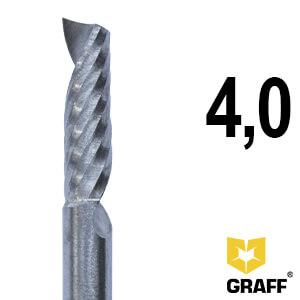 Фреза концевая по алюминию и пластику 4x45x15 мм однозаходная K10 с отводом стружки вверх GRAFF