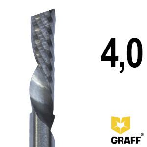 Фреза концевая по алюминию и пластику 4x45x15 мм однозаходная K10 с отводом стружки вниз GRAFF