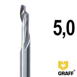 Фреза концевая по алюминию и пластику 5x16/45x90x8 мм однозаходная HSS M35 удлиненная GRAFF
