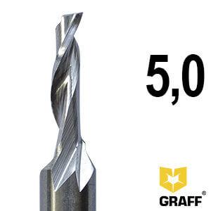 Фреза концевая по алюминию и пластику 5x18x60x8 мм однозаходная HSS M35 GRAFF