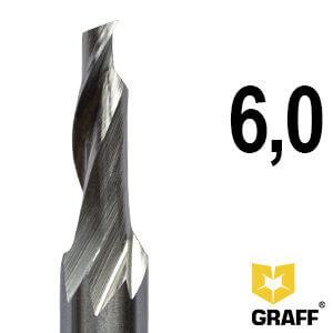 Фреза концевая по алюминию и пластику 6x18x60x8 мм однозаходная HSS M35 GRAFF