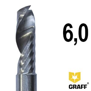 Фреза концевая по алюминию и пластику 6x50x20 мм однозаходная K10 с отводом стружки вверх GRAFF