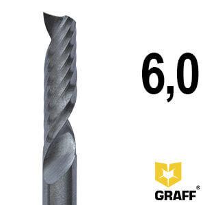 Фреза концевая по алюминию и пластику 6x60x25 мм однозаходная K10 с отводом стружки вверх GRAFF