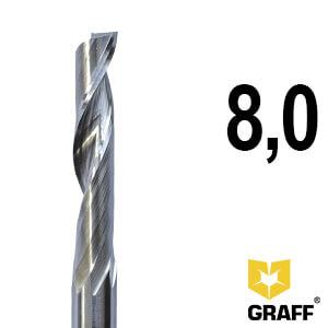 Фреза концевая по алюминию и пластику 8x40x80x8 мм однозаходная HSS M35 GRAFF