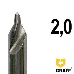 Сверло по металлу центровочное 2,0 мм Р6М5 GRAFF