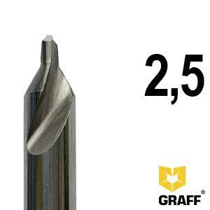 Сверло по металлу центровочное 2,5 мм Р6М5 GRAFF